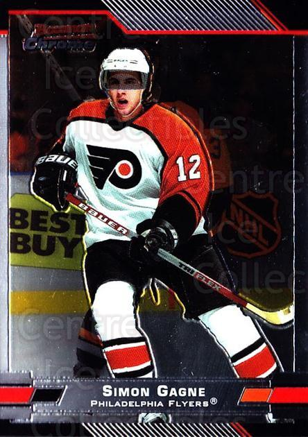 2003-04 Bowman Chrome #77 Simon Gagne<br/>4 In Stock - $1.00 each - <a href=https://centericecollectibles.foxycart.com/cart?name=2003-04%20Bowman%20Chrome%20%2377%20Simon%20Gagne...&quantity_max=4&price=$1.00&code=111866 class=foxycart> Buy it now! </a>