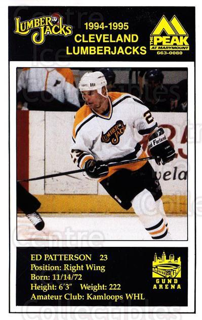 1994-95 Cleveland Lumberjacks Postcards #21 Ed Patterson<br/>5 In Stock - $3.00 each - <a href=https://centericecollectibles.foxycart.com/cart?name=1994-95%20Cleveland%20Lumberjacks%20Postcards%20%2321%20Ed%20Patterson...&quantity_max=5&price=$3.00&code=1119 class=foxycart> Buy it now! </a>