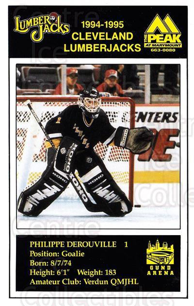 1994-95 Cleveland Lumberjacks Postcards #8 Philippe DeRouville<br/>2 In Stock - $3.00 each - <a href=https://centericecollectibles.foxycart.com/cart?name=1994-95%20Cleveland%20Lumberjacks%20Postcards%20%238%20Philippe%20DeRouv...&quantity_max=2&price=$3.00&code=1120 class=foxycart> Buy it now! </a>