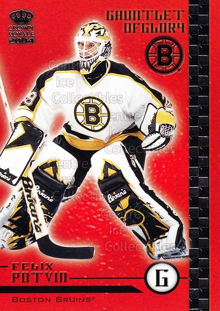 2003-04 Crown Royale Gauntlet of Glory #3 Felix Potvin<br/>3 In Stock - $2.00 each - <a href=https://centericecollectibles.foxycart.com/cart?name=2003-04%20Crown%20Royale%20Gauntlet%20of%20Glory%20%233%20Felix%20Potvin...&quantity_max=3&price=$2.00&code=112331 class=foxycart> Buy it now! </a>