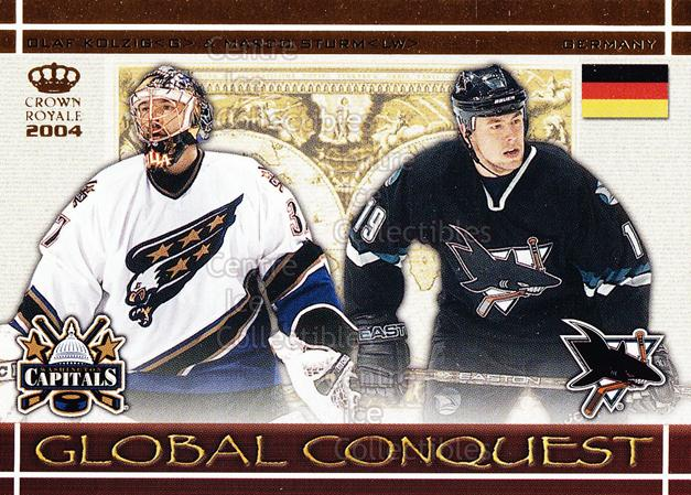 2003-04 Crown Royale Global Conquest #4 Olaf Kolzig, Marco Sturm<br/>6 In Stock - $3.00 each - <a href=https://centericecollectibles.foxycart.com/cart?name=2003-04%20Crown%20Royale%20Global%20Conquest%20%234%20Olaf%20Kolzig,%20Ma...&quantity_max=6&price=$3.00&code=112338 class=foxycart> Buy it now! </a>