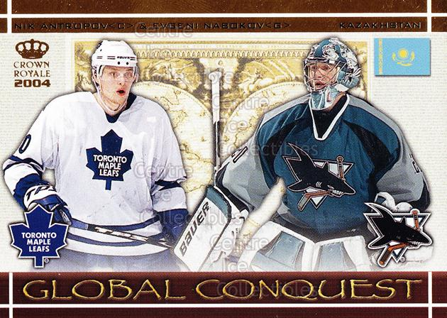 2003-04 Crown Royale Global Conquest #5 Evgeni Nabokov, Nikolai Antropov<br/>6 In Stock - $3.00 each - <a href=https://centericecollectibles.foxycart.com/cart?name=2003-04%20Crown%20Royale%20Global%20Conquest%20%235%20Evgeni%20Nabokov,...&quantity_max=6&price=$3.00&code=112339 class=foxycart> Buy it now! </a>