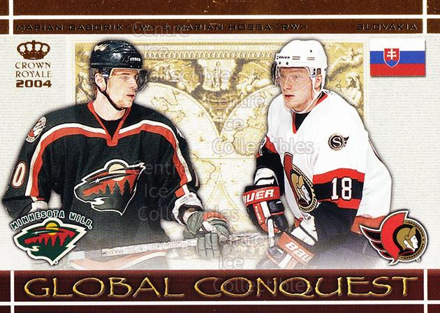 2003-04 Crown Royale Global Conquest #7 Marian Gaborik, Marian Hossa<br/>6 In Stock - $3.00 each - <a href=https://centericecollectibles.foxycart.com/cart?name=2003-04%20Crown%20Royale%20Global%20Conquest%20%237%20Marian%20Gaborik,...&quantity_max=6&price=$3.00&code=112340 class=foxycart> Buy it now! </a>