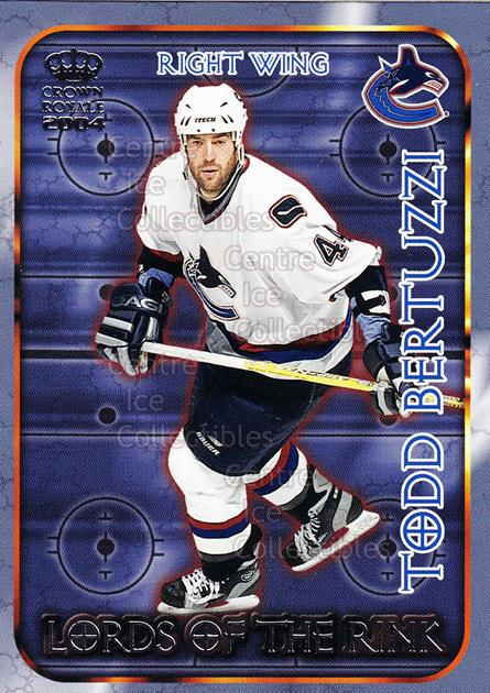 2003-04 Crown Royale Lords of the Rink #22 Todd Bertuzzi<br/>9 In Stock - $2.00 each - <a href=https://centericecollectibles.foxycart.com/cart?name=2003-04%20Crown%20Royale%20Lords%20of%20the%20Rink%20%2322%20Todd%20Bertuzzi...&quantity_max=9&price=$2.00&code=112357 class=foxycart> Buy it now! </a>