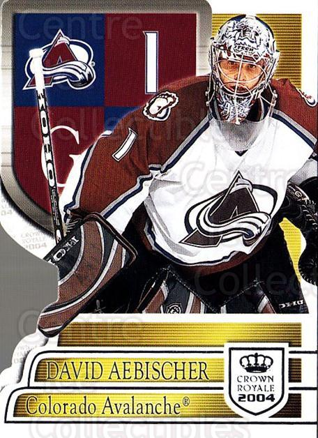 2003-04 Crown Royale Retail #22 David Aebischer<br/>6 In Stock - $1.00 each - <a href=https://centericecollectibles.foxycart.com/cart?name=2003-04%20Crown%20Royale%20Retail%20%2322%20David%20Aebischer...&quantity_max=6&price=$1.00&code=112397 class=foxycart> Buy it now! </a>