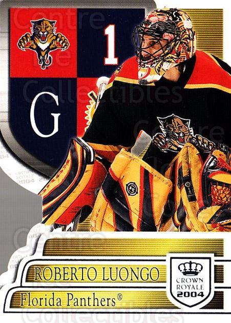 2003-04 Crown Royale Retail #45 Roberto Luongo<br/>5 In Stock - $2.00 each - <a href=https://centericecollectibles.foxycart.com/cart?name=2003-04%20Crown%20Royale%20Retail%20%2345%20Roberto%20Luongo...&quantity_max=5&price=$2.00&code=112412 class=foxycart> Buy it now! </a>