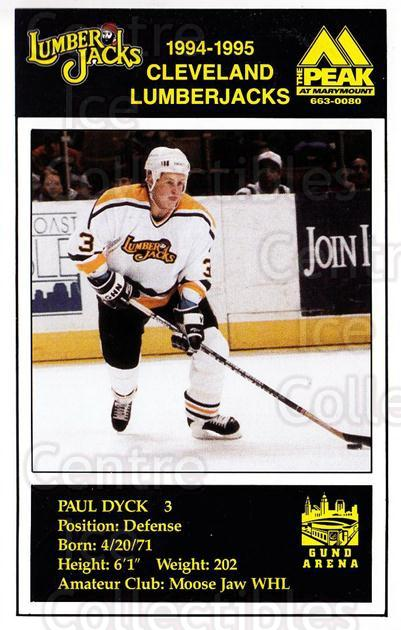 1994-95 Cleveland Lumberjacks Postcards #9 Paul Dyck<br/>3 In Stock - $3.00 each - <a href=https://centericecollectibles.foxycart.com/cart?name=1994-95%20Cleveland%20Lumberjacks%20Postcards%20%239%20Paul%20Dyck...&quantity_max=3&price=$3.00&code=1125 class=foxycart> Buy it now! </a>