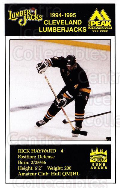 1994-95 Cleveland Lumberjacks Postcards #14 Rick Hayward<br/>2 In Stock - $3.00 each - <a href=https://centericecollectibles.foxycart.com/cart?name=1994-95%20Cleveland%20Lumberjacks%20Postcards%20%2314%20Rick%20Hayward...&quantity_max=2&price=$3.00&code=1126 class=foxycart> Buy it now! </a>