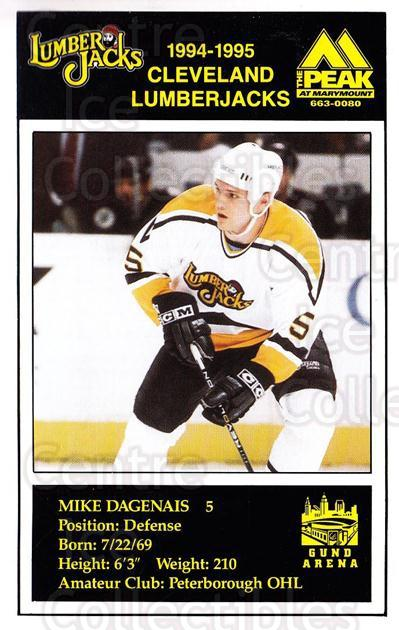 1994-95 Cleveland Lumberjacks Postcards #5 Mike Dagenais<br/>3 In Stock - $3.00 each - <a href=https://centericecollectibles.foxycart.com/cart?name=1994-95%20Cleveland%20Lumberjacks%20Postcards%20%235%20Mike%20Dagenais...&quantity_max=3&price=$3.00&code=1127 class=foxycart> Buy it now! </a>