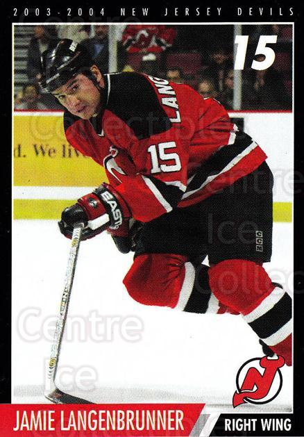 2003-04 New Jersey Devils Team Issue #16 Jamie Langenbrunner<br/>4 In Stock - $3.00 each - <a href=https://centericecollectibles.foxycart.com/cart?name=2003-04%20New%20Jersey%20Devils%20Team%20Issue%20%2316%20Jamie%20Langenbru...&quantity_max=4&price=$3.00&code=112806 class=foxycart> Buy it now! </a>