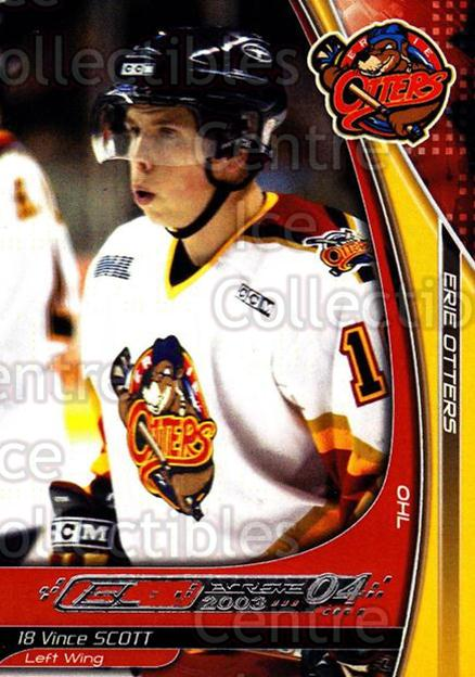 2003-04 Erie Otters #22 Vince Scott<br/>2 In Stock - $3.00 each - <a href=https://centericecollectibles.foxycart.com/cart?name=2003-04%20Erie%20Otters%20%2322%20Vince%20Scott...&price=$3.00&code=112834 class=foxycart> Buy it now! </a>