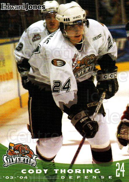 2003-04 Everett Silvertips #21 Cody Thoring<br/>4 In Stock - $3.00 each - <a href=https://centericecollectibles.foxycart.com/cart?name=2003-04%20Everett%20Silvertips%20%2321%20Cody%20Thoring...&price=$3.00&code=112845 class=foxycart> Buy it now! </a>