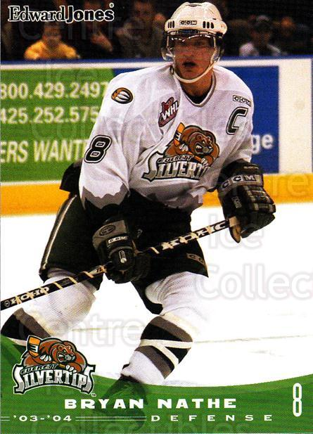 2003-04 Everett Silvertips #17 Bryan Nathe<br/>3 In Stock - $3.00 each - <a href=https://centericecollectibles.foxycart.com/cart?name=2003-04%20Everett%20Silvertips%20%2317%20Bryan%20Nathe...&price=$3.00&code=112849 class=foxycart> Buy it now! </a>