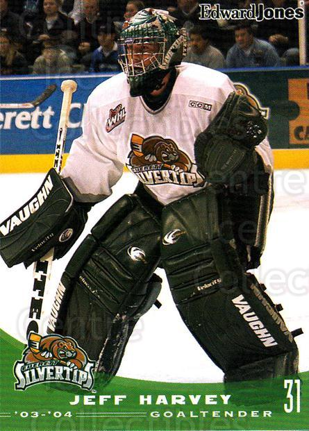 2003-04 Everett Silvertips #11 Jeff Harvey<br/>3 In Stock - $3.00 each - <a href=https://centericecollectibles.foxycart.com/cart?name=2003-04%20Everett%20Silvertips%20%2311%20Jeff%20Harvey...&price=$3.00&code=112852 class=foxycart> Buy it now! </a>