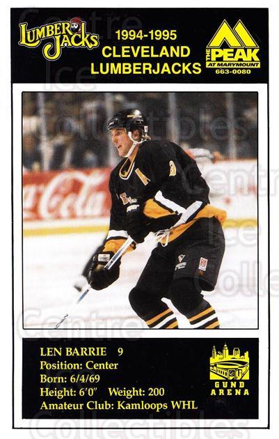 1994-95 Cleveland Lumberjacks Postcards #1 Len Barrie<br/>4 In Stock - $3.00 each - <a href=https://centericecollectibles.foxycart.com/cart?name=1994-95%20Cleveland%20Lumberjacks%20Postcards%20%231%20Len%20Barrie...&quantity_max=4&price=$3.00&code=1129 class=foxycart> Buy it now! </a>