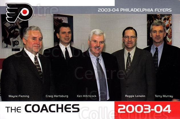 2003-04 Philadelphia Flyers Postcards #24 Wayne Flemming, Craig Hartsburg, Ken Hitchcock, Rejean Lemelin, Terry Murray<br/>1 In Stock - $3.00 each - <a href=https://centericecollectibles.foxycart.com/cart?name=2003-04%20Philadelphia%20Flyers%20Postcards%20%2324%20Wayne%20Flemming,...&quantity_max=1&price=$3.00&code=113036 class=foxycart> Buy it now! </a>