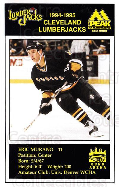 1994-95 Cleveland Lumberjacks Postcards #19 Eric Murano<br/>5 In Stock - $3.00 each - <a href=https://centericecollectibles.foxycart.com/cart?name=1994-95%20Cleveland%20Lumberjacks%20Postcards%20%2319%20Eric%20Murano...&quantity_max=5&price=$3.00&code=1130 class=foxycart> Buy it now! </a>