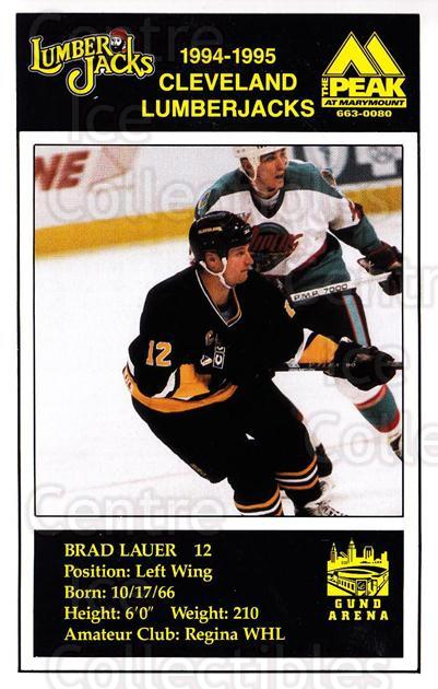 1994-95 Cleveland Lumberjacks Postcards #16 Brad Lauer<br/>4 In Stock - $3.00 each - <a href=https://centericecollectibles.foxycart.com/cart?name=1994-95%20Cleveland%20Lumberjacks%20Postcards%20%2316%20Brad%20Lauer...&quantity_max=4&price=$3.00&code=1131 class=foxycart> Buy it now! </a>