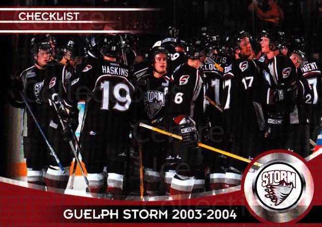 2003-04 Guelph Storm #29 Team Photo, Checklist<br/>3 In Stock - $2.00 each - <a href=https://centericecollectibles.foxycart.com/cart?name=2003-04%20Guelph%20Storm%20%2329%20Team%20Photo,%20Che...&price=$2.00&code=113274 class=foxycart> Buy it now! </a>