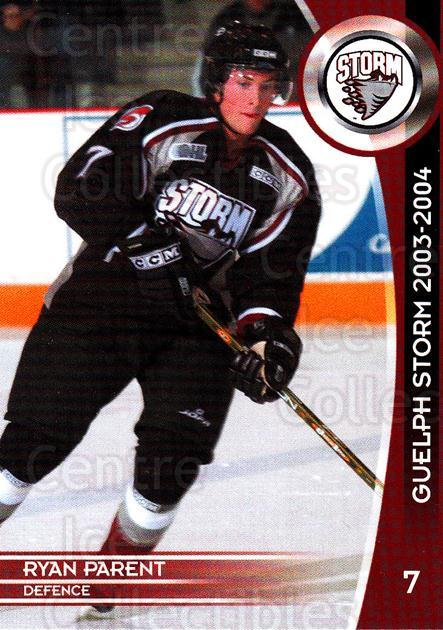 2003-04 Guelph Storm #5 Ryan Parent<br/>1 In Stock - $3.00 each - <a href=https://centericecollectibles.foxycart.com/cart?name=2003-04%20Guelph%20Storm%20%235%20Ryan%20Parent...&quantity_max=1&price=$3.00&code=113276 class=foxycart> Buy it now! </a>