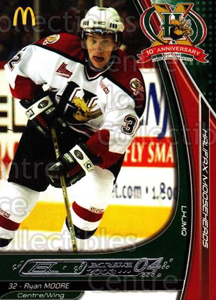 2003-04 Halifax Mooseheads #12 Ryan Moore<br/>6 In Stock - $3.00 each - <a href=https://centericecollectibles.foxycart.com/cart?name=2003-04%20Halifax%20Mooseheads%20%2312%20Ryan%20Moore...&quantity_max=6&price=$3.00&code=113283 class=foxycart> Buy it now! </a>