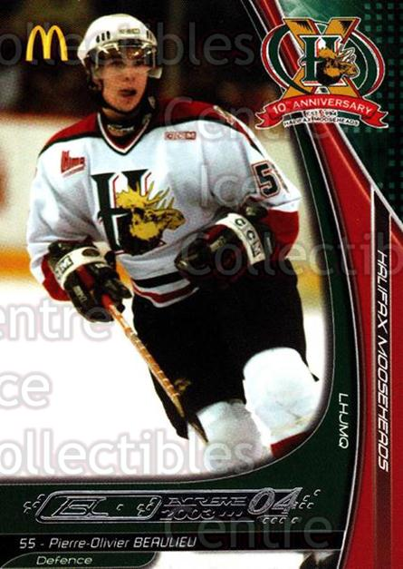 2003-04 Halifax Mooseheads #1 Pier-Olivier Beaulieu<br/>3 In Stock - $3.00 each - <a href=https://centericecollectibles.foxycart.com/cart?name=2003-04%20Halifax%20Mooseheads%20%231%20Pier-Olivier%20Be...&quantity_max=3&price=$3.00&code=113290 class=foxycart> Buy it now! </a>