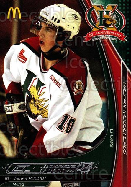 2003-04 Halifax Mooseheads #15 James Pouliot<br/>3 In Stock - $3.00 each - <a href=https://centericecollectibles.foxycart.com/cart?name=2003-04%20Halifax%20Mooseheads%20%2315%20James%20Pouliot...&quantity_max=3&price=$3.00&code=113293 class=foxycart> Buy it now! </a>