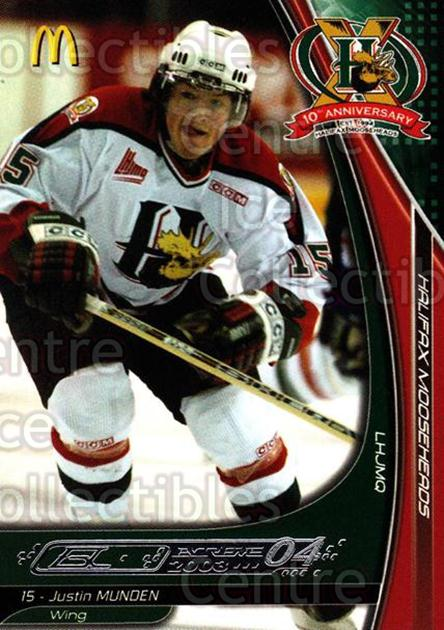 2003-04 Halifax Mooseheads #13 Justin Munden<br/>5 In Stock - $3.00 each - <a href=https://centericecollectibles.foxycart.com/cart?name=2003-04%20Halifax%20Mooseheads%20%2313%20Justin%20Munden...&quantity_max=5&price=$3.00&code=113294 class=foxycart> Buy it now! </a>