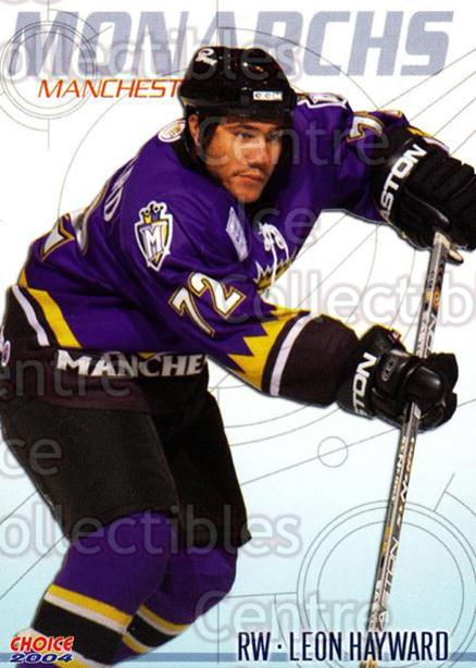 2003-04 Manchester Monarchs Choice #7 Leon Hayward<br/>13 In Stock - $3.00 each - <a href=https://centericecollectibles.foxycart.com/cart?name=2003-04%20Manchester%20Monarchs%20Choice%20%237%20Leon%20Hayward...&quantity_max=13&price=$3.00&code=113658 class=foxycart> Buy it now! </a>