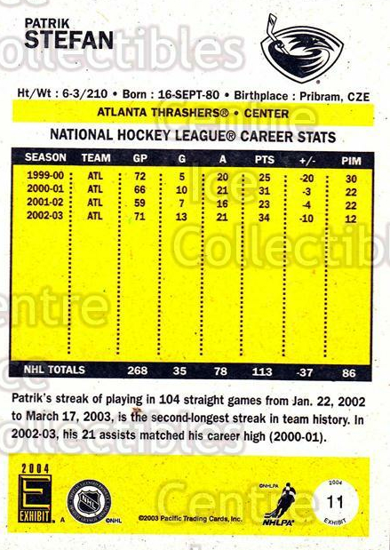 2003-04 Pacific Exhibit Yellow Backs #11 Patrik Stefan<br/>6 In Stock - $1.00 each - <a href=https://centericecollectibles.foxycart.com/cart?name=2003-04%20Pacific%20Exhibit%20Yellow%20Backs%20%2311%20Patrik%20Stefan...&quantity_max=6&price=$1.00&code=114798 class=foxycart> Buy it now! </a>