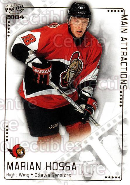 2003-04 Pacific Main Attractions #10 Marian Hossa<br/>9 In Stock - $2.00 each - <a href=https://centericecollectibles.foxycart.com/cart?name=2003-04%20Pacific%20Main%20Attractions%20%2310%20Marian%20Hossa...&quantity_max=9&price=$2.00&code=115845 class=foxycart> Buy it now! </a>