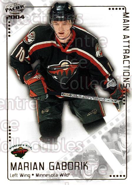 2003-04 Pacific Main Attractions #7 Marian Gaborik<br/>6 In Stock - $2.00 each - <a href=https://centericecollectibles.foxycart.com/cart?name=2003-04%20Pacific%20Main%20Attractions%20%237%20Marian%20Gaborik...&quantity_max=6&price=$2.00&code=115852 class=foxycart> Buy it now! </a>