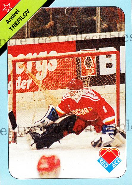 1992-93 Russian Stars Red Ace A #4 Andrei Trefilov<br/>4 In Stock - $2.00 each - <a href=https://centericecollectibles.foxycart.com/cart?name=1992-93%20Russian%20Stars%20Red%20Ace%20A%20%234%20Andrei%20Trefilov...&quantity_max=4&price=$2.00&code=11597 class=foxycart> Buy it now! </a>