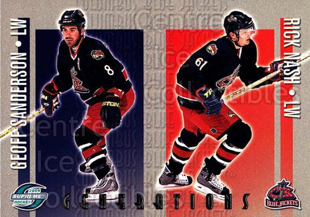 2003-04 Supreme Generations #3 Geoff Sanderson, Rick Nash<br/>2 In Stock - $3.00 each - <a href=https://centericecollectibles.foxycart.com/cart?name=2003-04%20Supreme%20Generations%20%233%20Geoff%20Sanderson...&quantity_max=2&price=$3.00&code=116191 class=foxycart> Buy it now! </a>