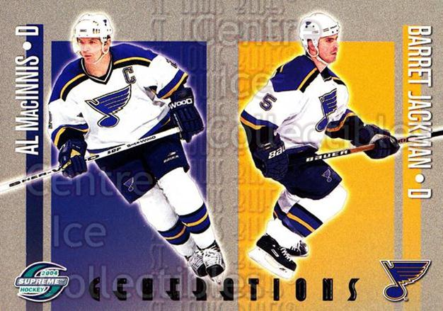 2003-04 Supreme Generations #9 Al MacInnis, Barret Jackman<br/>2 In Stock - $3.00 each - <a href=https://centericecollectibles.foxycart.com/cart?name=2003-04%20Supreme%20Generations%20%239%20Al%20MacInnis,%20Ba...&quantity_max=2&price=$3.00&code=116192 class=foxycart> Buy it now! </a>