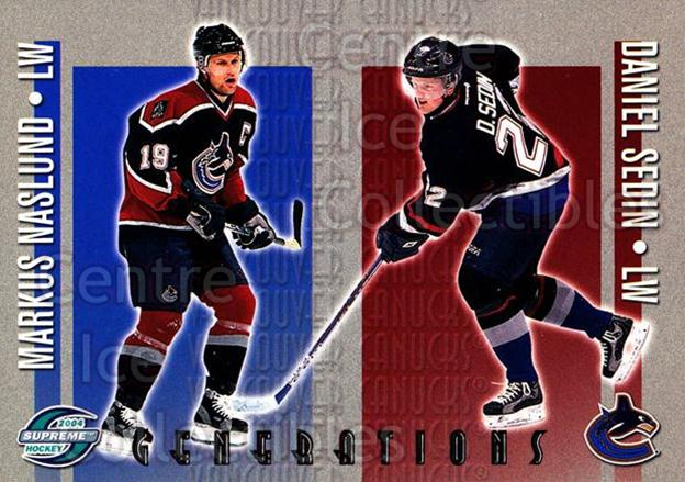 2003-04 Supreme Generations #12 Markus Naslund, Daniel Sedin<br/>3 In Stock - $3.00 each - <a href=https://centericecollectibles.foxycart.com/cart?name=2003-04%20Supreme%20Generations%20%2312%20Markus%20Naslund,...&price=$3.00&code=116207 class=foxycart> Buy it now! </a>