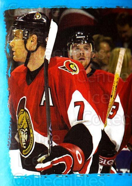 2003-04 Panini Stickers #119 Patrick Lalime, Curtis Leschyshyn, Ottawa Senators<br/>3 In Stock - $1.00 each - <a href=https://centericecollectibles.foxycart.com/cart?name=2003-04%20Panini%20Stickers%20%23119%20Patrick%20Lalime,...&quantity_max=3&price=$1.00&code=116514 class=foxycart> Buy it now! </a>