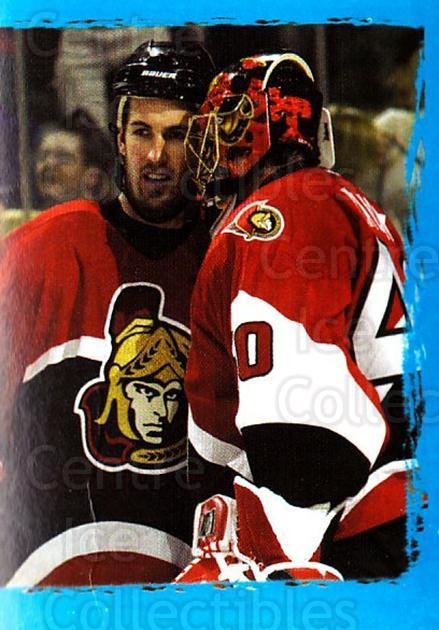 2003-04 Panini Stickers #120 Patrick Lalime, Curtis Leschyshyn, Ottawa Senators<br/>3 In Stock - $1.00 each - <a href=https://centericecollectibles.foxycart.com/cart?name=2003-04%20Panini%20Stickers%20%23120%20Patrick%20Lalime,...&quantity_max=3&price=$1.00&code=116516 class=foxycart> Buy it now! </a>