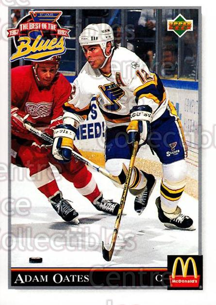 1992-93 McDonalds Best of the St. Louis Blues #17 Adam Oates<br/>6 In Stock - $2.00 each - <a href=https://centericecollectibles.foxycart.com/cart?name=1992-93%20McDonalds%20Best%20of%20the%20St.%20Louis%20Blues%20%2317%20Adam%20Oates...&quantity_max=6&price=$2.00&code=11691 class=foxycart> Buy it now! </a>