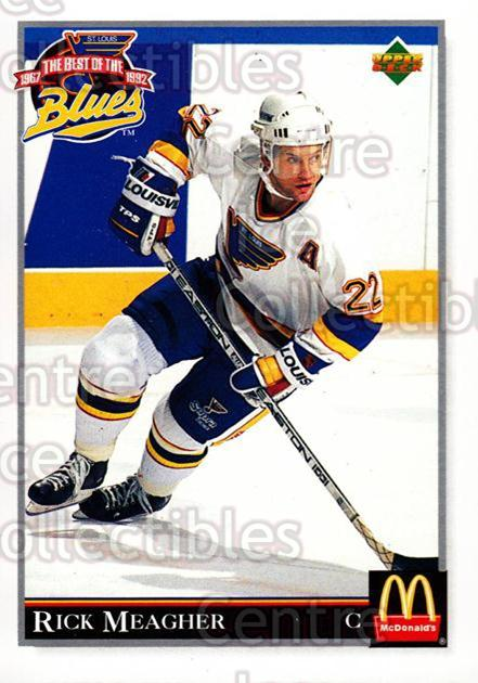 1992-93 McDonalds Best of the St. Louis Blues #23 Rick Meagher<br/>9 In Stock - $2.00 each - <a href=https://centericecollectibles.foxycart.com/cart?name=1992-93%20McDonalds%20Best%20of%20the%20St.%20Louis%20Blues%20%2323%20Rick%20Meagher...&quantity_max=9&price=$2.00&code=11696 class=foxycart> Buy it now! </a>
