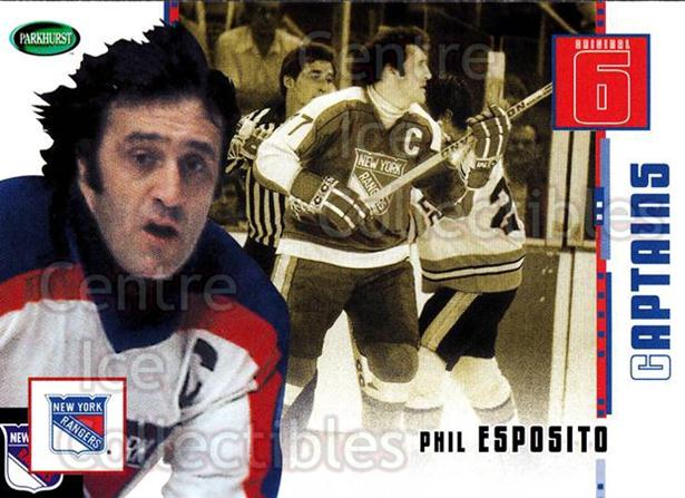 2003-04 Parkhurst Original Six New York Rangers #74 Phil Esposito<br/>8 In Stock - $2.00 each - <a href=https://centericecollectibles.foxycart.com/cart?name=2003-04%20Parkhurst%20Original%20Six%20New%20York%20Rangers%20%2374%20Phil%20Esposito...&quantity_max=8&price=$2.00&code=117068 class=foxycart> Buy it now! </a>