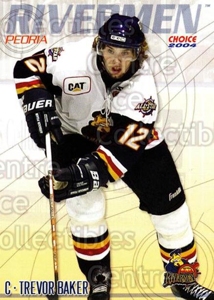 2003-04 Peoria Rivermen #22 Trevor Baker<br/>10 In Stock - $3.00 each - <a href=https://centericecollectibles.foxycart.com/cart?name=2003-04%20Peoria%20Rivermen%20%2322%20Trevor%20Baker...&price=$3.00&code=117294 class=foxycart> Buy it now! </a>