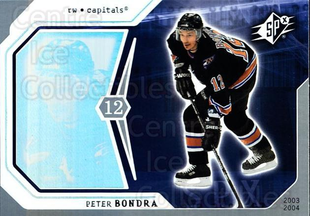 2003-04 SPx #100 Peter Bondra<br/>5 In Stock - $1.00 each - <a href=https://centericecollectibles.foxycart.com/cart?name=2003-04%20SPx%20%23100%20Peter%20Bondra...&quantity_max=5&price=$1.00&code=118221 class=foxycart> Buy it now! </a>