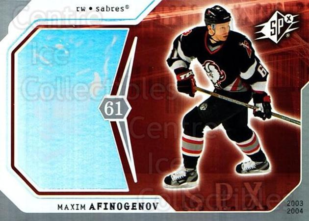 2003-04 SPx #11 Maxim Afinogenov<br/>4 In Stock - $1.00 each - <a href=https://centericecollectibles.foxycart.com/cart?name=2003-04%20SPx%20%2311%20Maxim%20Afinogeno...&quantity_max=4&price=$1.00&code=118225 class=foxycart> Buy it now! </a>
