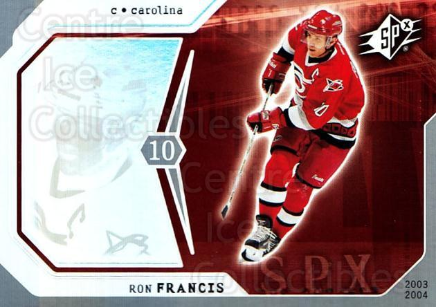 2003-04 SPx #16 Ron Francis<br/>4 In Stock - $1.00 each - <a href=https://centericecollectibles.foxycart.com/cart?name=2003-04%20SPx%20%2316%20Ron%20Francis...&quantity_max=4&price=$1.00&code=118231 class=foxycart> Buy it now! </a>
