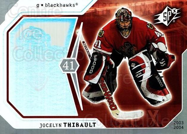 2003-04 SPx #19 Jocelyn Thibault<br/>5 In Stock - $1.00 each - <a href=https://centericecollectibles.foxycart.com/cart?name=2003-04%20SPx%20%2319%20Jocelyn%20Thibaul...&quantity_max=5&price=$1.00&code=118236 class=foxycart> Buy it now! </a>