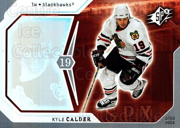 2003-04 SPx #20 Kyle Calder<br/>6 In Stock - $1.00 each - <a href=https://centericecollectibles.foxycart.com/cart?name=2003-04%20SPx%20%2320%20Kyle%20Calder...&quantity_max=6&price=$1.00&code=118243 class=foxycart> Buy it now! </a>