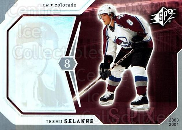2003-04 SPx #22 Teemu Selanne<br/>5 In Stock - $2.00 each - <a href=https://centericecollectibles.foxycart.com/cart?name=2003-04%20SPx%20%2322%20Teemu%20Selanne...&quantity_max=5&price=$2.00&code=118248 class=foxycart> Buy it now! </a>