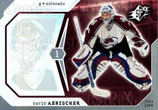 2003-04 SPx #24 David Aebischer<br/>6 In Stock - $1.00 each - <a href=https://centericecollectibles.foxycart.com/cart?name=2003-04%20SPx%20%2324%20David%20Aebischer...&quantity_max=6&price=$1.00&code=118252 class=foxycart> Buy it now! </a>