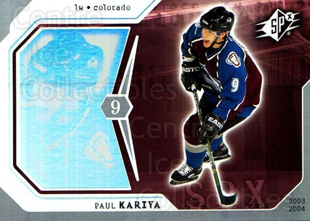 2003-04 SPx #25 Paul Kariya<br/>4 In Stock - $1.00 each - <a href=https://centericecollectibles.foxycart.com/cart?name=2003-04%20SPx%20%2325%20Paul%20Kariya...&quantity_max=4&price=$1.00&code=118253 class=foxycart> Buy it now! </a>